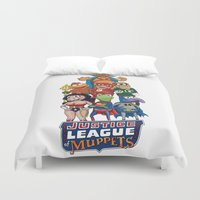 justice league Duvet Covers featuring Justice League of Muppets by JoshEssel