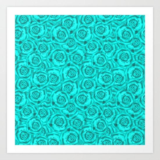 Roses . Neon turquoise . Art Print