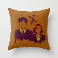 dana scully Throw Pillows featuring Mulder And Scully by Sutexii