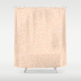 Peach - Apricot and White Hearts Shower Curtain