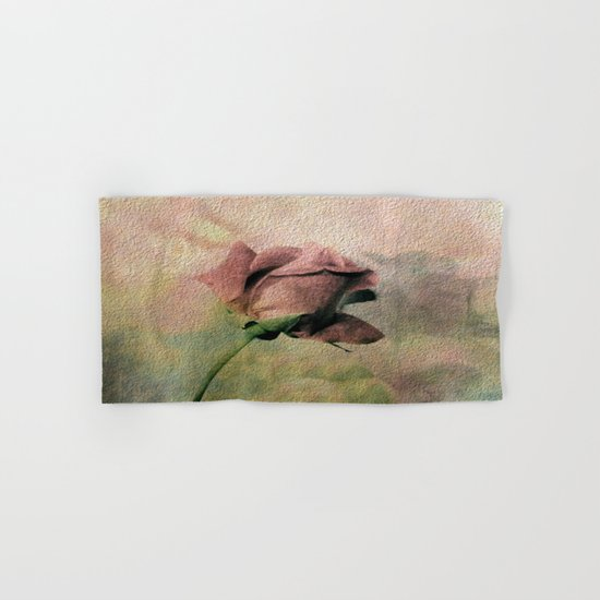 Painterly Pink Rose Bud Hand & Bath Towel