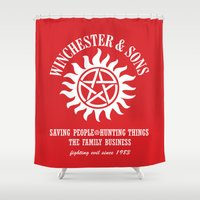 winchester Shower Curtains featuring SUPERNATURAL WINCHESTER AND SONS by thischarmingfan