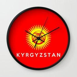 Kyrgyzstan country flag name text Wall Clock