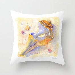 Old Shell Watercolor Throw Pillow