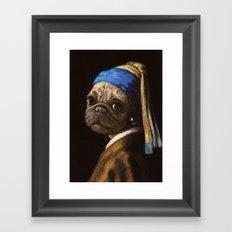pug with a pearl earring Framed Art Print