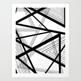 Black and White Abstract Geometric Art Print
