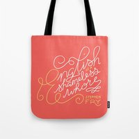 shameless Tote Bags featuring English is a Shameless Whore, Stephen Fry by A Rose Cast