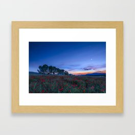 """""""Venus and Moon over spring poppies"""" Framed Art Print"""