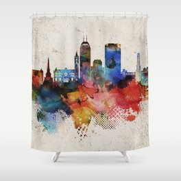 Indianapolis Abstract Skyline Shower Curtain