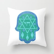 Hamsa for blessings - david shield - turqoise Throw Pillow