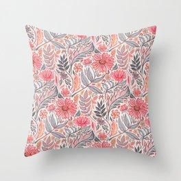Melon Pink and Grey Art Nouveau Floral Throw Pillow