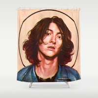 alex turner Shower Curtains featuring Alex Turner by Varsha Vijayan