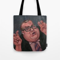 snl Tote Bags featuring Chris Farley as Bennett Brauer by Shayna Cochefski