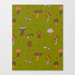 Mushrooms Green Canvas Print