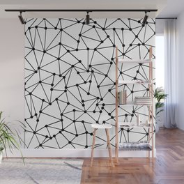 Ab Out Lines With Spots White Wall Mural
