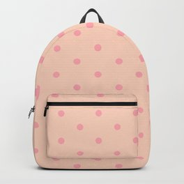 Polka Dots Pattern Very Soft Light Orange and Very Soft Rosy Red Backpack