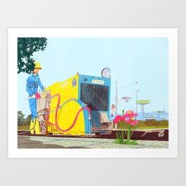 The asphalt cutter Art Print
