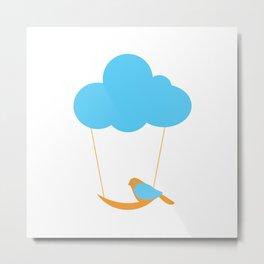 Cute bird and cloud Metal Print