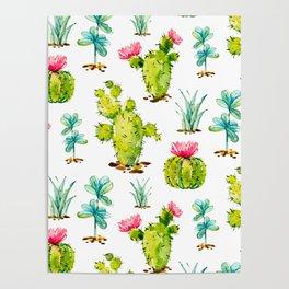 Green Cactus Watercolor Poster