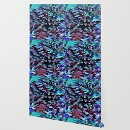 Foliage Abstract Camouflage In Aqua Blue and Black Wallpaper