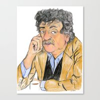 vonnegut Canvas Prints featuring Vonnegut by McHank