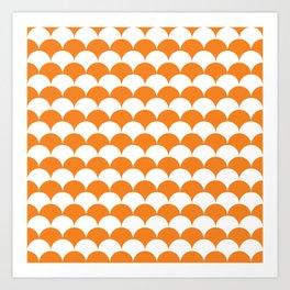 Orange Clamshell Pattern Art Print