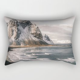 Stokksnes Icelandic Mountain Beach Sunset - Landscape Photography Rectangular Pillow