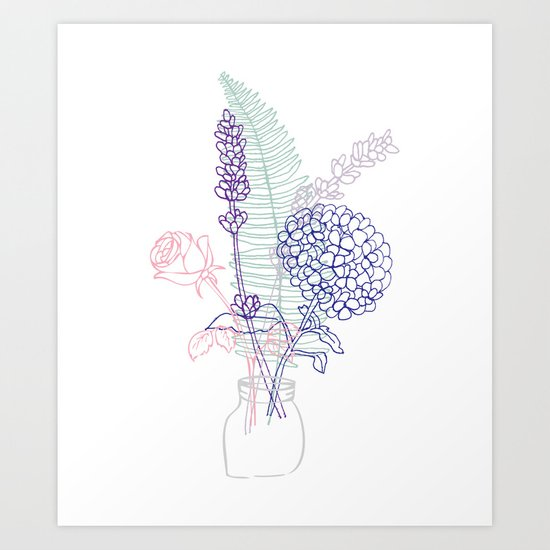 Floral Sketching Arrangement Art Print