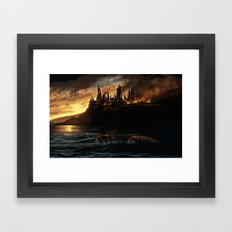 Harry Potter - Hogwart's Burning Framed Art Print