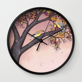 cedar waxwings on the stained glass tree Wall Clock