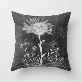 Flowers on chalkboard Throw Pillow