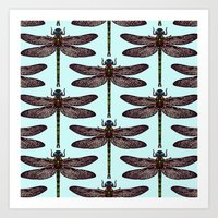 dragonfly Art Prints featuring dragonfly by Sharon Turner