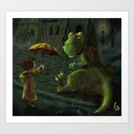 Friends In Rain Art Print