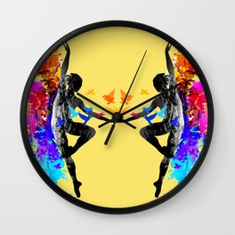 Ballet dancer dancing with flying birds Wall Clock
