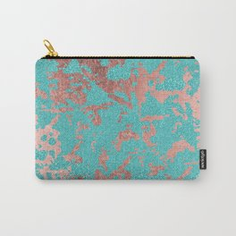 Modern turquoise glitter faux rose gold marble Carry-All Pouch