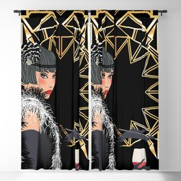 Retro fashion woman with glass of wine Blackout Curtain