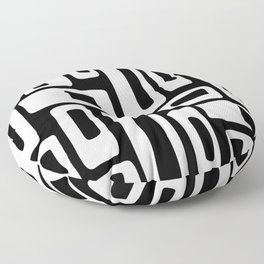 Retro Mid Century Modern Abstract Pattern 335 Black and White Floor Pillow