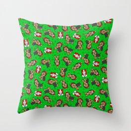 Merry Yorkies Throw Pillow