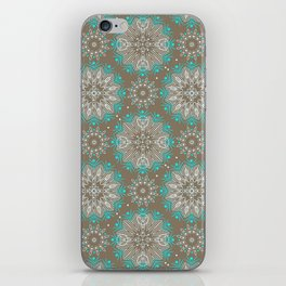 Brown turquoise bling . iPhone Skin