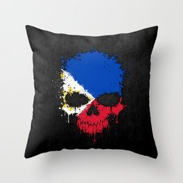 Flag of Philippines on a Chaotic Splatter Skull Throw Pillow