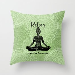 Relax and ask for a Coffee-Yoga-Lotus-Humor Throw Pillow