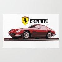ferrari Area & Throw Rugs featuring Ferrari 275  by kartalpaf
