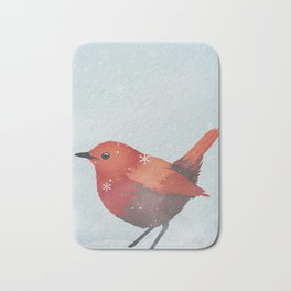 Little Red Robin in the Snow Bath Mat