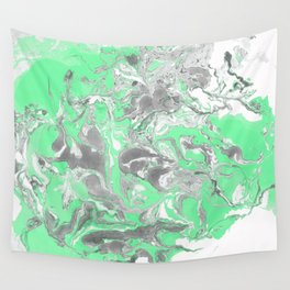 Light green and gray Marble texture acrylic paint art Wall Tapestry