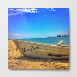 Row Boat at Long Beach California Metal Print