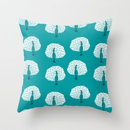 Peacock illustrated pattern by andrea lauren medium blue bird gifts peacocks Throw Pillow