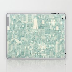 vintage halloween teal ivory Laptop & iPad Skin