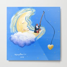 Penguin Fishing for Dream and Love on the Sleeping Moon Metal Print