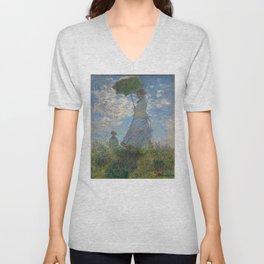 Claude Monet - Woman With A Parasol Unisex V-Neck