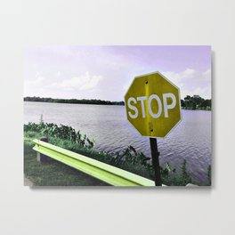 Iterations of a Stop Sign #3: Yellow Metal Print